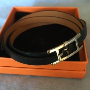 Never worn Hermès double wrap leather bracelet